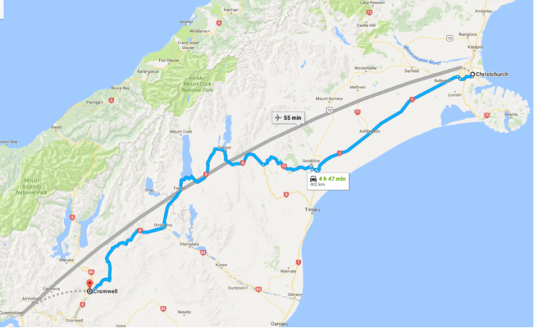 Map Christchurch to Cromwell