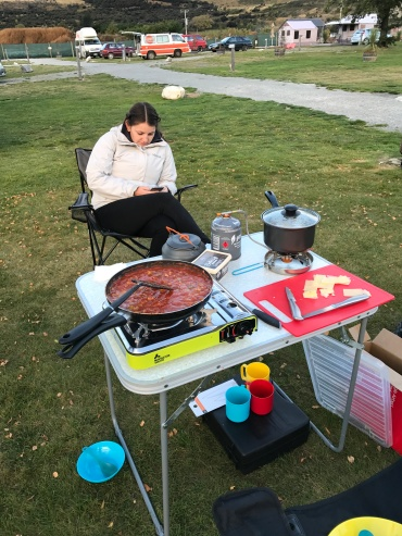 Camp meal at Glenorchy